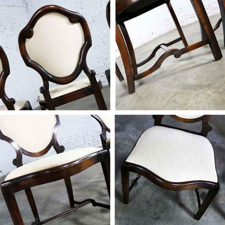 Art Nouveau or Art Deco Shield Back Antique Dining Chairs Set of Four For Sale 7