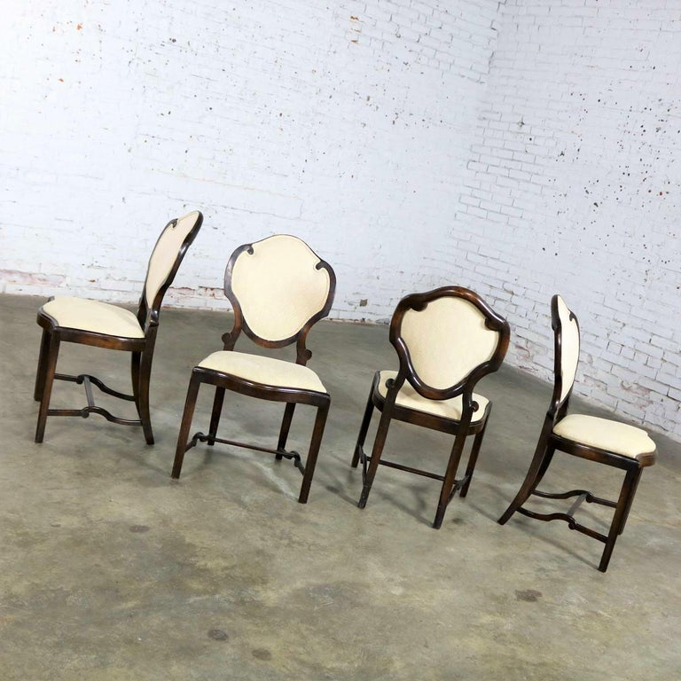 Art Nouveau or Art Deco Shield Back Antique Dining Chairs Set of Four In Good Condition For Sale In Topeka, KS