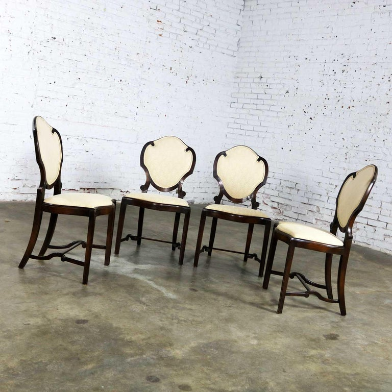 20th Century Art Nouveau or Art Deco Shield Back Antique Dining Chairs Set of Four For Sale
