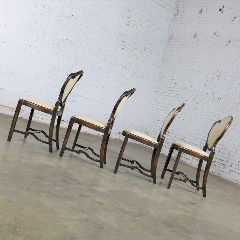 Art Nouveau or Art Deco Shield Back Antique Dining Chairs Set of Four For Sale 1