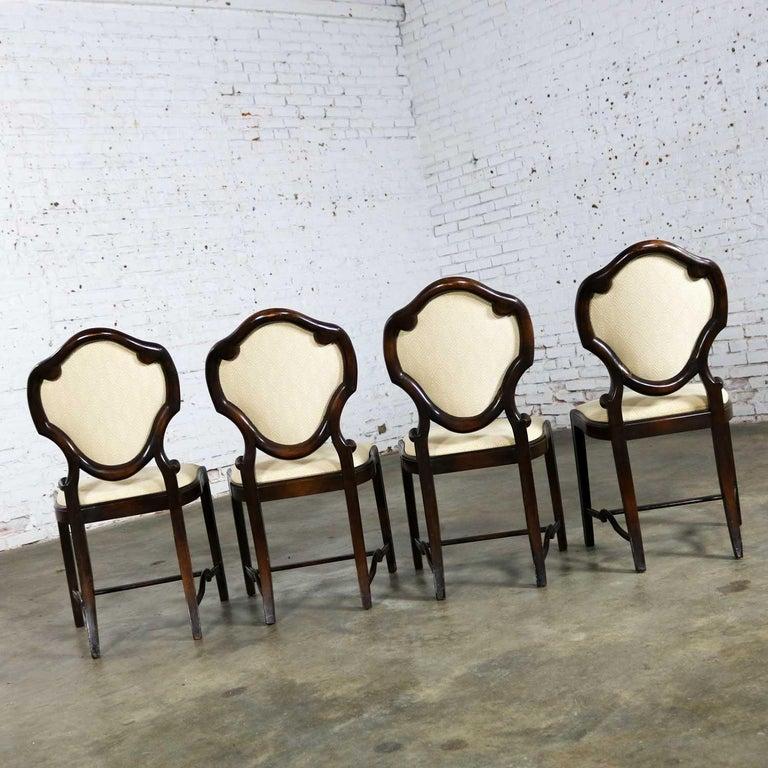 Art Nouveau or Art Deco Shield Back Antique Dining Chairs Set of Four For Sale 2