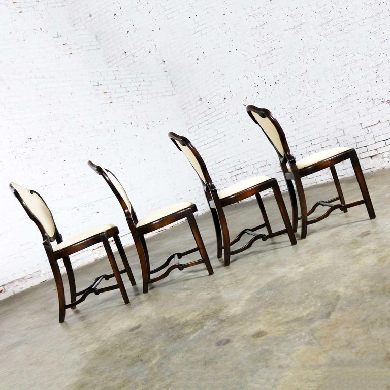 Art Nouveau or Art Deco Shield Back Antique Dining Chairs Set of Four For Sale 3