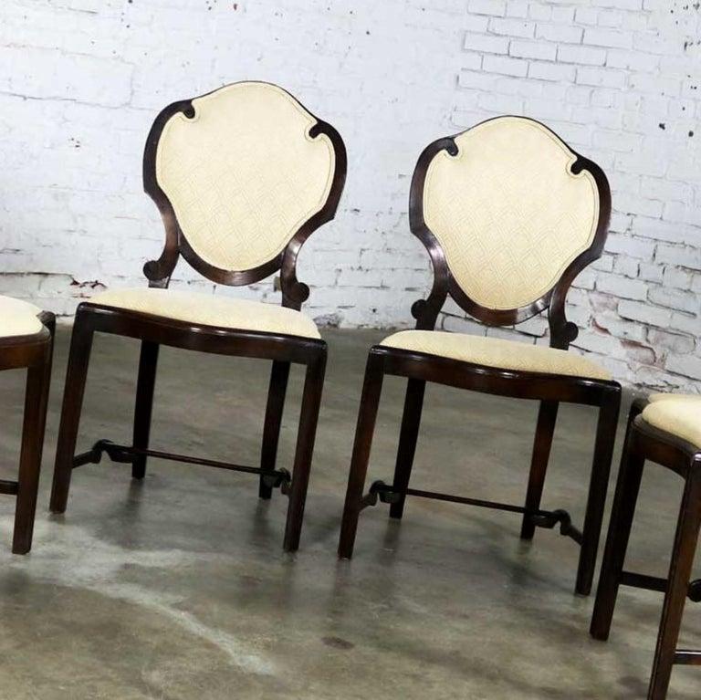 Art Nouveau or Art Deco Shield Back Antique Dining Chairs Set of Four For Sale 4