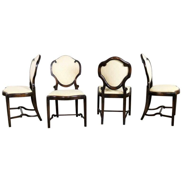 Art Nouveau or Art Deco Shield Back Antique Dining Chairs Set of Four For Sale