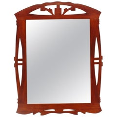 Art Nouveau or Modernist Spanish Wood Wall Mirror, 1910s