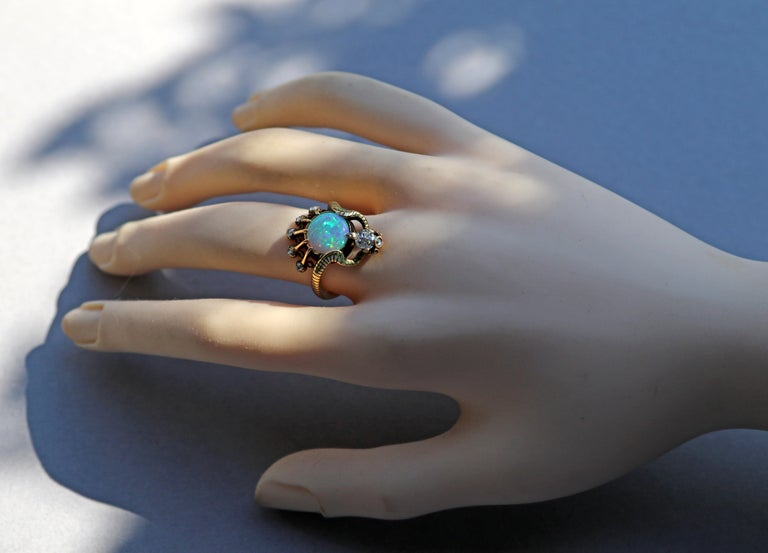 Art Nouveau Ouroborus Serpent Ring Attributed to Charles Rivaud For Sale 6