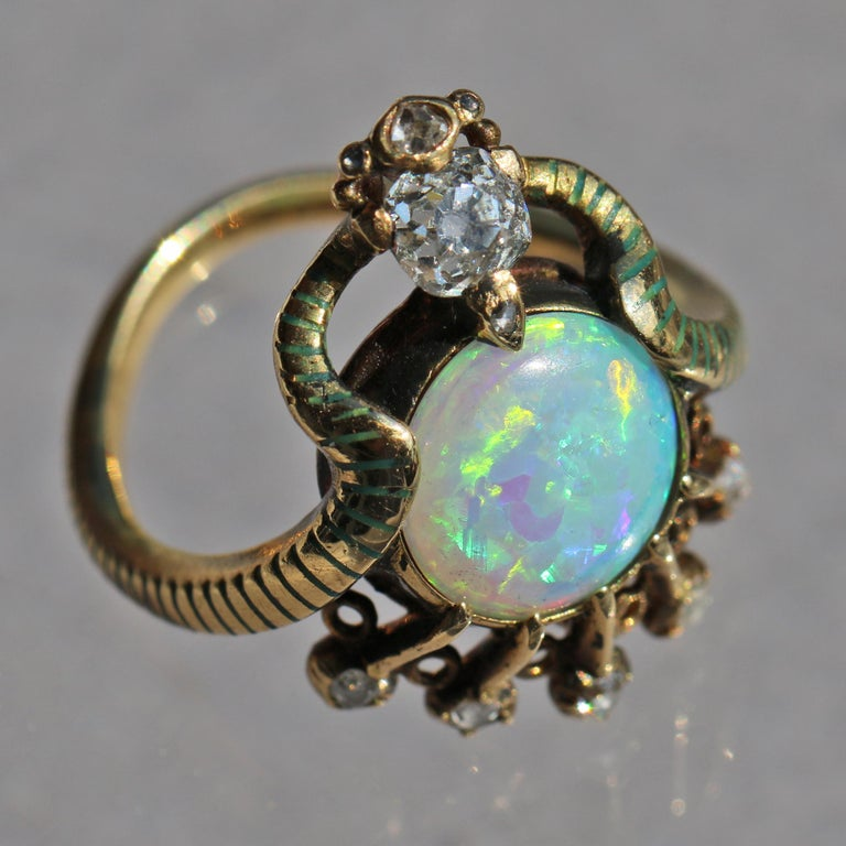Art Nouveau Ouroborus Serpent Ring Attributed to Charles Rivaud In Good Condition For Sale In London, GB