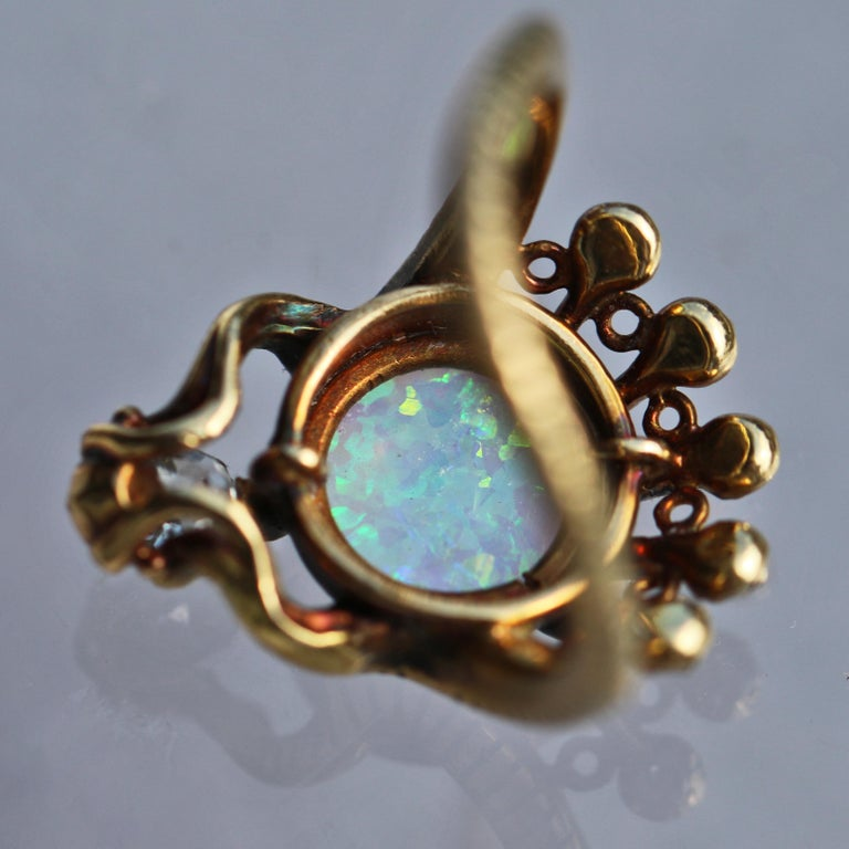 Women's or Men's Art Nouveau Ouroborus Serpent Ring Attributed to Charles Rivaud For Sale
