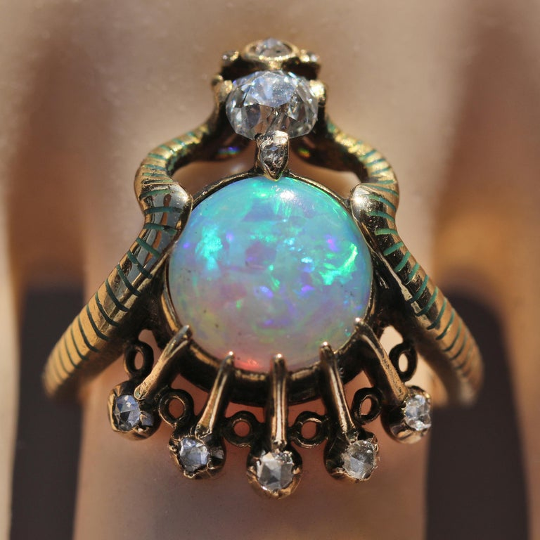 Art Nouveau Ouroborus Serpent Ring Attributed to Charles Rivaud For Sale 2