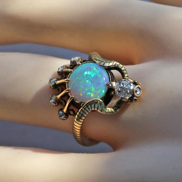 Art Nouveau Ouroborus Serpent Ring Attributed to Charles Rivaud For Sale 3