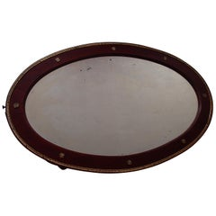 Art Nouveau Oval Mirror Wood and Brass Decorations
