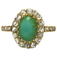 Art Nouveau Oval Persian Turquoise Diamond Halo 18 Karat Yellow Gold Ring