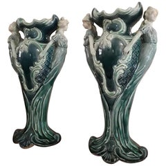 Art Nouveau, Pair of Blue Vases, France, End of 19th-Early 20th Century