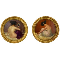 Art Nouveau Pair of Circular Oil Paintings with Nudes Emmanuel Fougerat, 1900