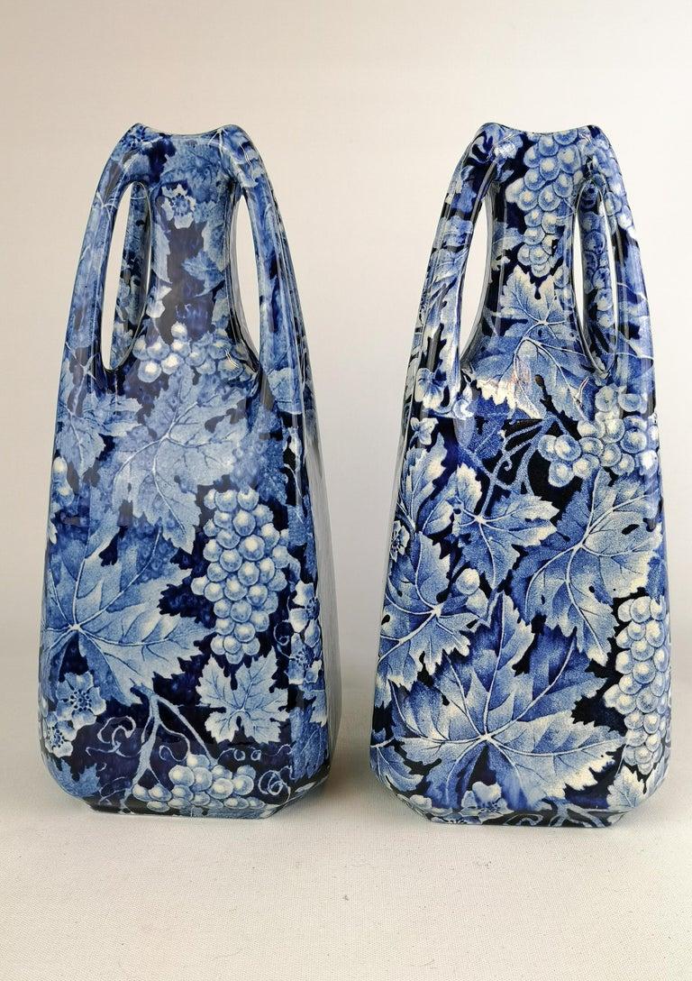 Art Nouveau Pair of Vases Druva Rörstrand Sweden In Good Condition For Sale In Langserud, SE