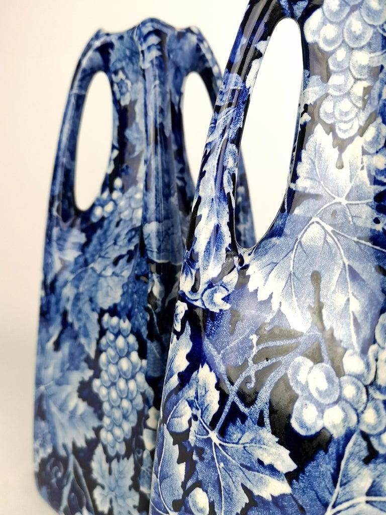 Early 20th Century Art Nouveau Pair of Vases Druva Rörstrand Sweden For Sale