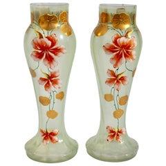 Art Nouveau Pair of Vases Gold Painted with Flower Decoration