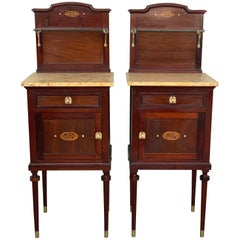 Art Nouveau Pair of Walnut Nightstands with Crest, Marble Top and Glass Shelve