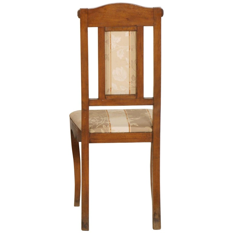 Art Nouveau Pair of Side Chairs in Walnut, Restored, New Upholstered In Good Condition For Sale In Vigonza, Padua