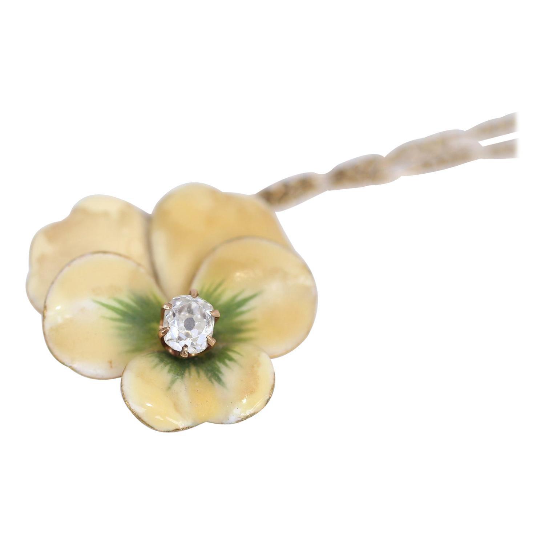Art Nouveau Pansy Flower Diamond Enamel Brooch Pendant Chain, 1910