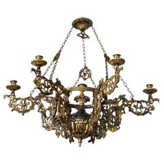 Art Nouveau Patinated Bronze and Brass Candle Chandelier, Seven Candleholders