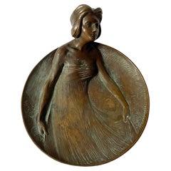 Art Nouveau Patinated Bronze Vide Poche Gustave Gurshner, Austria, C.1910