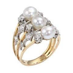 Art Nouveau Pearl and Diamond Ring, circa 1900