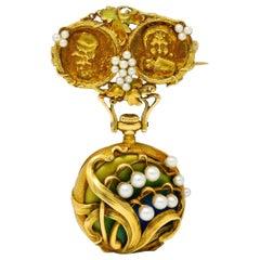 Art Nouveau Pearl Enamel 18 Karat Two-Tone Gold Foliate and Grape Watch Brooch