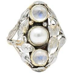 Art Nouveau Pearl Moonstone Platinum-Topped 14 Karat Gold Ring
