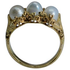 Art Nouveau Pearl Ring 18 Karat Gold