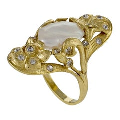 Art Nouveau Pearl Ring with Diamond Accents