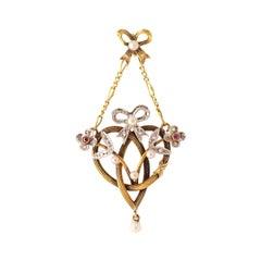 Art Nouveau Pendant Diamond Ruby Platinum Yellow Gold