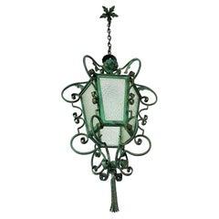 Art Nouveau Pendant Lantern Wrouht Iron, French Provincial 1900