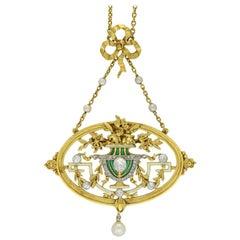 Art Nouveau Pendant Necklace or Brooch by Gautrait