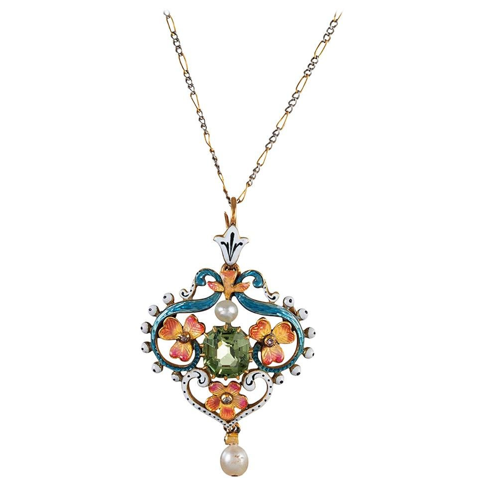 Art Nouveau Pendant with Peridot, Enamel and Pearl