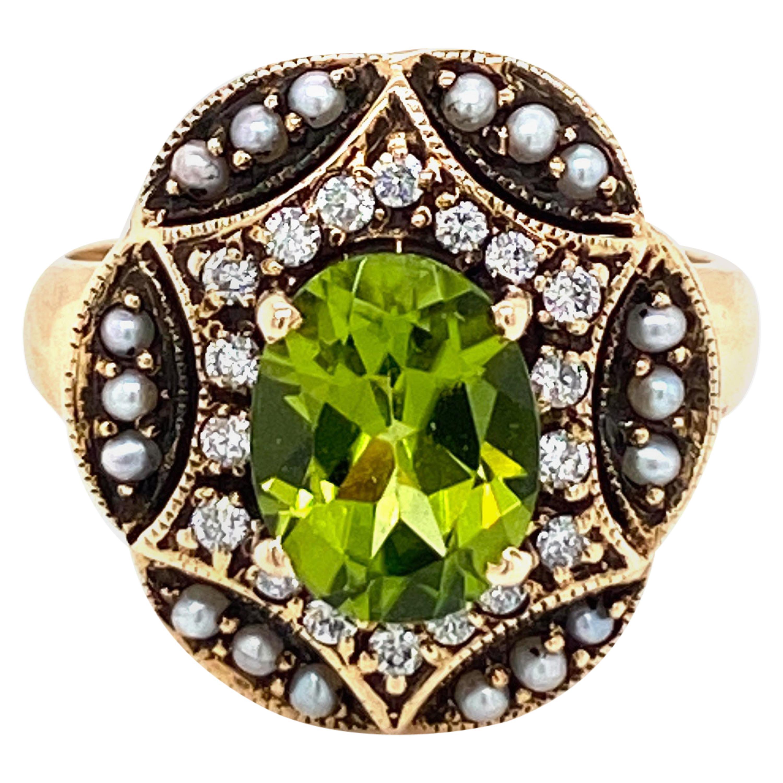 Art Nouveau Peridot Diamonds Pearls Cocktail Ring