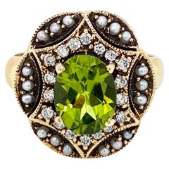 Art Nouveau Peridot Diamonds Pearls Cocktail Ring