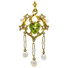 Art Nouveau Peridot Pearl 14 Karat Gold Drop Pendant