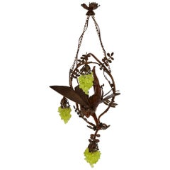 Art Nouveau Period Bronze and Colored Glass Chandelier