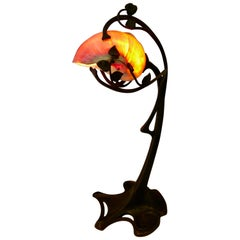 Art Nouveau Period Bronze and Shell Lamp