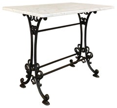 Art Nouveau Period Marble Top Cast Iron Bistro Table