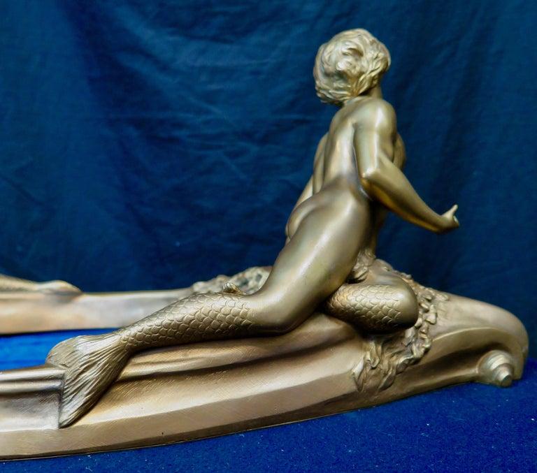French Art Nouveau Period Mythological Bronze Centerpiece For Sale