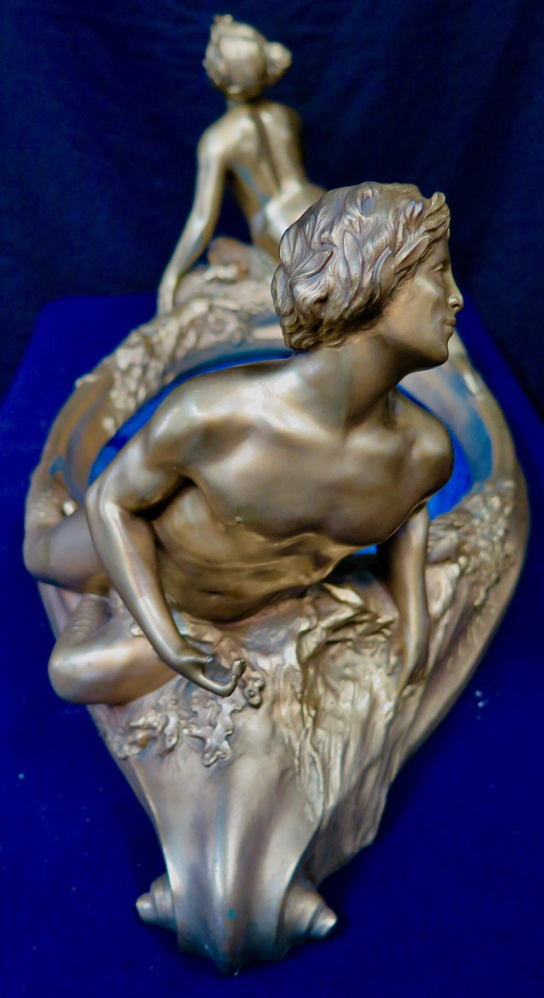 Art Nouveau Period Mythological Bronze Centerpiece In Good Condition For Sale In Bronx, NY