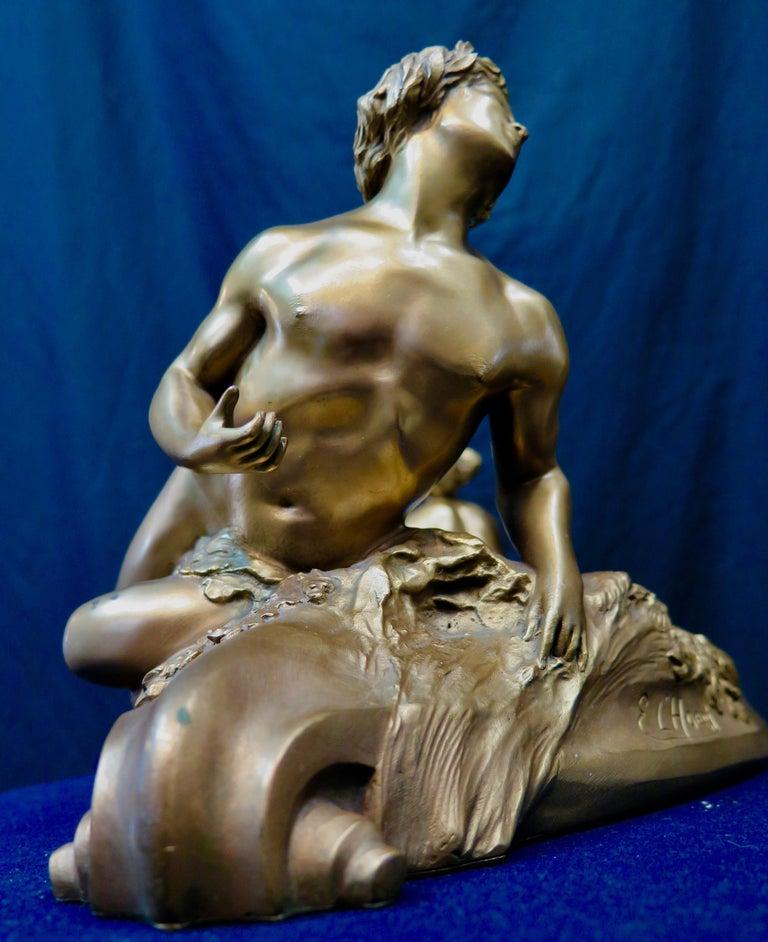 Early 20th Century Art Nouveau Period Mythological Bronze Centerpiece For Sale