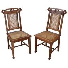 Art Nouveau Period Oak Wood and Wien Straw Chairs, Set of 2