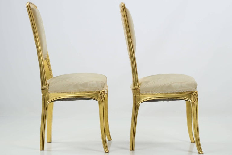 French Art Nouveau Period Pair of Carved Giltwood Antique Side Chairs, 20th Century For Sale