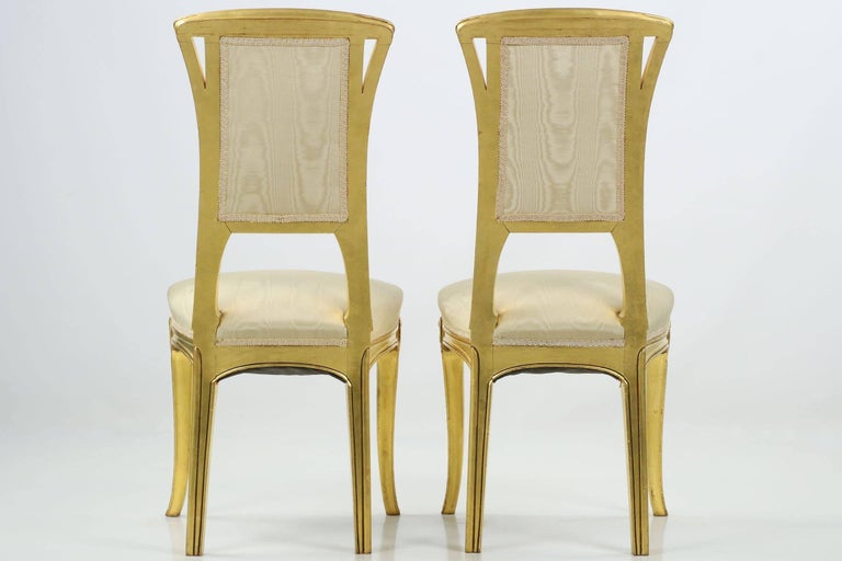 Art Nouveau Period Pair of Carved Giltwood Antique Side Chairs, 20th Century In Excellent Condition For Sale In Shippensburg, PA