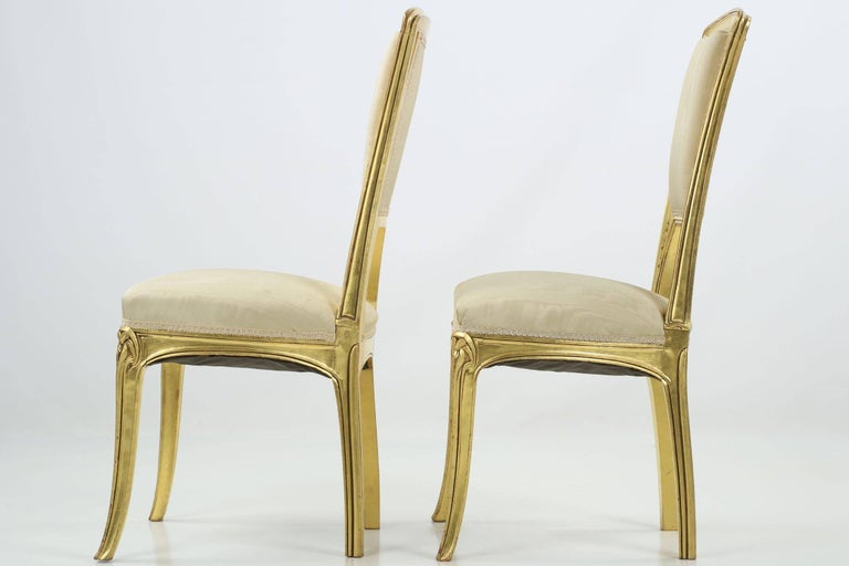 Beech Art Nouveau Period Pair of Carved Giltwood Antique Side Chairs, 20th Century For Sale