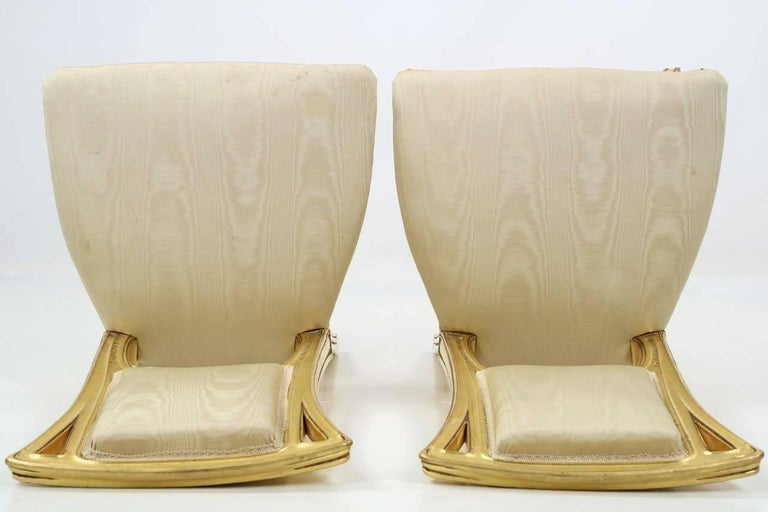 Art Nouveau Period Pair of Carved Giltwood Antique Side Chairs, 20th Century For Sale 1