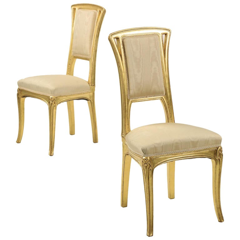 Art Nouveau Period Pair of Carved Giltwood Antique Side Chairs, 20th Century For Sale